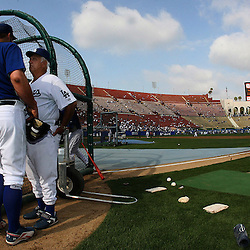 Former Dodger manager Tommy Lasorda ,Right, talks with pitcher Brad Penny during batting practice before the Dodgers celebrating there 50th season in Los Angeles played an exhibition game in front of 115,300 people against the Boston Redsox's March 29. 2008 at the Los Angeles Memorial Coliseum. (SGVN/Staff Photo Keith Birmingham/SXSports)
