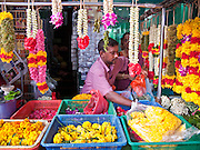 Apr. 28 -- SINGAPORE:   A vendor in the Little India district of Singapore sells flower garlands for use in Hindu temples in the neighborhood.     PHOTO BY JACK KURTZ