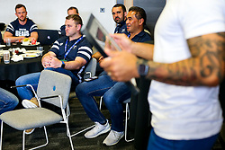 Pat Lam looks on as the Bristol Bears squad gather to make presentations to departing players after the Bristol Bears Team Run ahead of the Sale Sharks Game - Rogan/JMP - 02/05/2019 - RUGBY UNION - Ashton Gate Stadium - Bristol, England - Bristol Bears v Sale Sharks - Gallagher Premiership Rugby.