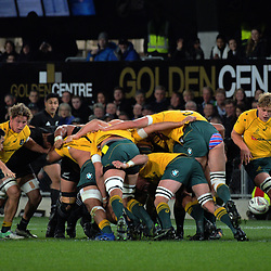 Will Genia tries to control the ball at the base of a scrum during the Rugby Championship and Bledisloe Cup rugby match between the New Zealand All Blacks and Australia Wallabies at Forsyth Barr Stadium in Dunedin, New Zealand on Saturday, 26 August 2017. Photo: Dave Lintott / lintottphoto.co.nz