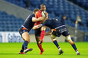 Michael Makase (#14) of Isuzu Southern Kings is tackled by Luke Crosbie (#7) and Ross Ford (#2) of Edinburgh Rugby during the Guinness Pro 14 2018_19 rugby match between Edinburgh Rugby and Isuzu Southern Kings at the BT Murrayfield Stadium, Edinburgh, Scotland on 5 January 2019.