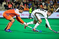 ROTTERDAM - Bjorn Kellerman (NED) with Ferdinand Weinke (Ger)   during  the Pro League hockeymatch men, Netherlands- Germany (0-1). )  WSP COPYRIGHT  KOEN SUYK