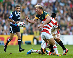 Schalk Burger of South Africa loses the ball in contact - Mandatory byline: Patrick Khachfe/JMP - 07966 386802 - 19/09/2015 - RUGBY UNION - Brighton Community Stadium - Brighton, England - South Africa v Japan - Rugby World Cup 2015 Pool B.