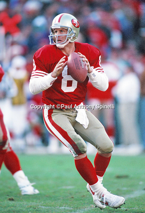 San Francisco 49ers quarterback Steve Young (8) drops back to pass during the NFL football game against the Tampa Bay Buccaneers on Dec. 19, 1992 in San Francisco. The 49ers  won the game 21-14. (©Paul Anthony Spinelli)
