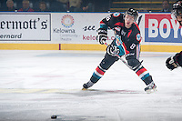 KELOWNA, CANADA - OCTOBER 22: Cole Martin #8 of the Kelowna Rockets makes a pass against the Calgary Hitmen on October 22, 2013 at Prospera Place in Kelowna, British Columbia, Canada.   (Photo by Marissa Baecker/Shoot the Breeze)  ***  Local Caption  ***