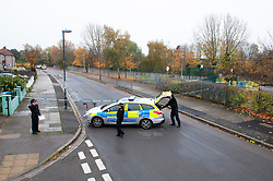 © Licensed to London News Pictures. 16/11/2018. Orpington, UK. A police cordon is in place with police standing guard after a 17 year old boy was stabbed multiple times in an attack last night in Eltham. Police were called at 10.25pm.The teenager remains critical but stable.Photo credit: Grant Falvey/LNP