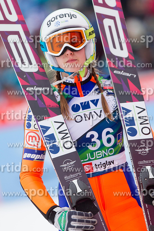 BOGATAJ Ursa of Slovenia competes during FIS Ski jumping World Cup Ladies 15th competition Ljubno 2013 on February 17, 2013 in Ljubno ob Savinji, Slovenia. (Photo By Vid Ponikvar / Sportida)