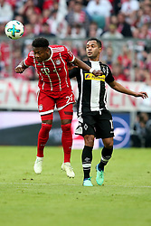 14.04.2018, Allianz Arena, Muenchen, GER, 1. FBL, FC Bayern Muenchen vs Borussia Moenchengladbach, 30. Runde, im Bild David Alaba (FC Bayern Muenchen #27) Raffael ( Borussia Moenchengladbach #11 ) // during the German Bundesliga 30th round match between FC Bayern Munich and Borussia Moenchengladbach at the Allianz Arena in Muenchen, Germany on 2018/04/14. EXPA Pictures &copy; 2018, PhotoCredit: EXPA/ Eibner-Pressefoto/ Langer<br /> <br /> *****ATTENTION - OUT of GER*****