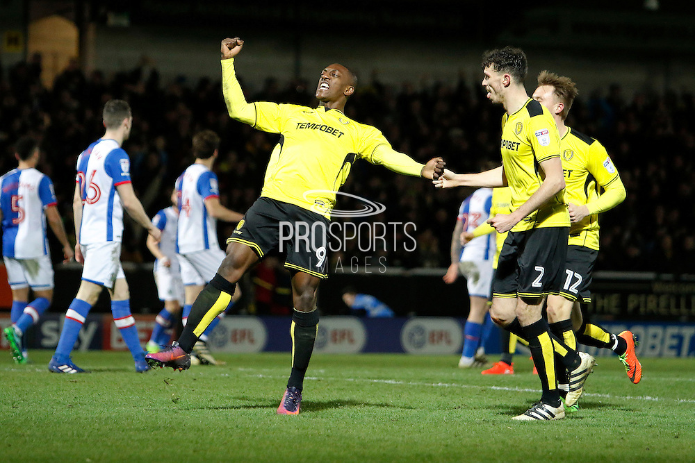 Burton Albion striker Marvin Sordell (9) scores a goal 1-1 and celebrates during the EFL Sky Bet Championship match between Burton Albion and Blackburn Rovers at the Pirelli Stadium, Burton upon Trent, England on 24 February 2017. Photo by Richard Holmes.