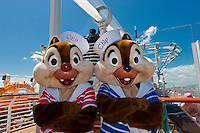 Chip and Dale (Disney characters) aboard the Disney Dream cruise ship sailing between Florida and the Bahamas.