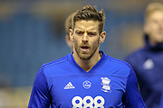 Birmingham City forward Lukas Jutkiewicz (10) warms up  during the EFL Sky Bet Championship match between Millwall and Birmingham City at The Den, London, England on 28 November 2018.