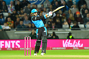 Joe Clarke of Worcestershire hits the ball to the boundary for four runs during the final of the Vitality T20 Finals Day 2018 match between Worcestershire Rapids and Sussex Sharks at Edgbaston, Birmingham, United Kingdom on 15 September 2018.
