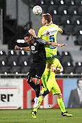 Danijel Milicevic and Igor Plastun fight for the ball during the Jupiler Pro League matchday 4 between Kas Eupen and Kaa Gent on August 19, 2018 in Eupen, Belgium, Photo by David Hagemann /Isosport / Pro Shots / ProSportsImages / DPPI