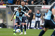 Wycombe Wanderers midfielder Max Kretzchmar (17) strikes a free kick during the Sky Bet League 2 match between Wycombe Wanderers and Barnet at Adams Park, High Wycombe, England on 16 April 2016. Photo by Dennis Goodwin.