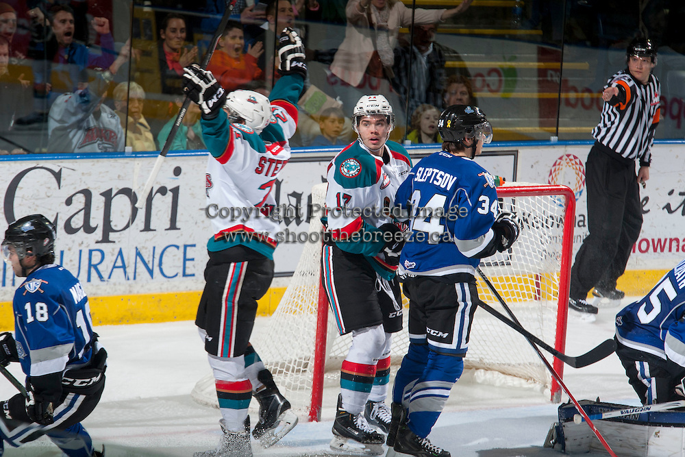 KELOWNA, CANADA - MARCH 11: Devante Stephens #21 of Kelowna Rockets scores a goal against the Victoria Royals on March 11, 2015 at Prospera Place in Kelowna, British Columbia, Canada.  (Photo by Marissa Baecker/Shoot the Breeze)  *** Local Caption *** Devante Stephens;