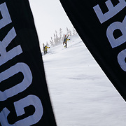 Blue skies greeted 22 teams from across the Western United States. The venue on Cody Peak provided soft powder, though a bit wind-slabby in spots. Sponsorship flags atop the Powder 8 Face ridge.