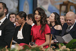 December 10, 2018 - Oslo, NORWAY - Human Rights Barrister Amal Clooney attends the Nobel Peace Prize Ceremony in Oslo Town Hall, Oslo, Norway, Monday, Dec. 10, 2018. Dr. Denis Mukwege and Nadia Murad of Iraq, shared the 9-million Swedish kronor ($1 million) Nobel Peace Prize. Mukwege was honored for his work helping sexually abused women at the hospital he founded in the Democratic Republic of Congo. Murad, a Yazidi, won for her advocacy for sex abuse victims after being kidnapped by Islamic State militants. (Credit Image: © Prensa Internacional via ZUMA Wire)