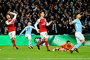 Goal - David Silva (21) of Manchester City runs away to celebrate after scoring a goal to give a 3-0 lead over Arsenal during the EFL Cup Final match between Arsenal and Manchester City at Wembley Stadium, London, England on 25 February 2018. Picture by Graham Hunt.