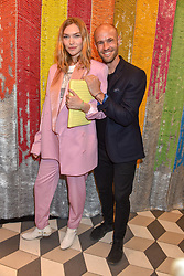 Arizona Muse and Cameron Saul at a cocktail supper hosted by BOTTLETOP co-founders Cameron Saul & Oliver Wayman, along with Arizona Muse, Richard Curtis & Livia Firth to launch the #TOGETHERBAND campaign at The Quadrant Arcade on April 24, 2019 in London, England.<br /> <br /> ***For fees please contact us prior to publication***