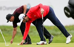 September 10, 2018 - Newtown Square, Pennsylvania, United States - Jason Day (L) and Jon Rahm line up putts on the 16th green during the final round of the 2018 BMW Championship. (Credit Image: © Debby Wong/ZUMA Wire)