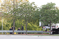 July 23, 2017 - San Antonio, Tx, United States - Law enforcement is at the scene where people were discovered inside a tractor trailer in a Walmart parking lot at IH35 South and Palo Alto Road, Sunday, July 23, 2017. Reports say that 8 were dead including two children and several were transported to area hospitals. Seventeen were with life threatening injuries. (Credit Image: © San Antonio Express-News via ZUMA Wire)