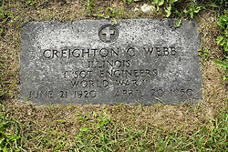 31 August 2017:   Veterans graves in Park Hill Cemetery in eastern McLean County.<br /> <br /> Creighton C Webb  Illinois Technical Sergeant Engineers  World War II  June 21 1920  April 20 1950