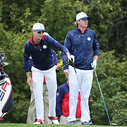 Ryder Cup 2016.  Zach Johnson and Brandt Snedeker of the United States during practice day at the Hazeltine National Golf Club on September 28, 2016 in Chaska, Minnesota.  (Photo by Tim Clayton/Corbis via Getty Images)
