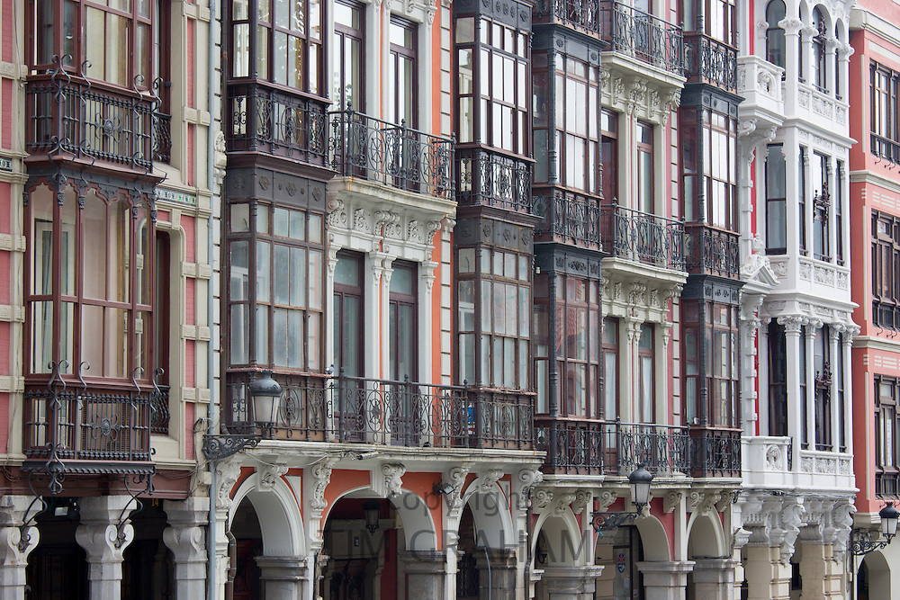 Traditional architecture in Calle San Francisco in Aviles, Asturias, Northern Spain