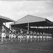 All Ireland Senior Football Championship Final, Louth v Cork .22.09.1957, 09.22.1957, 22st September 1957,.. Louth 1-09 Cork 1-07,.. 22091957AISFCF, TEAMS PARADE AROUND CROKE PARK BEFORE THE KICK OFF OF THE ALL IRELAND SENIOR GAELIC FOOTBALL FINAL BETWEEN LOUTH AND CORK  ON SEPTEMBER 21ST 1957, LOUTH WON THE SAM MAGUIRE CUP 1-9 TO 1-7,..RESCAN/ Check.is this originally a square negative?