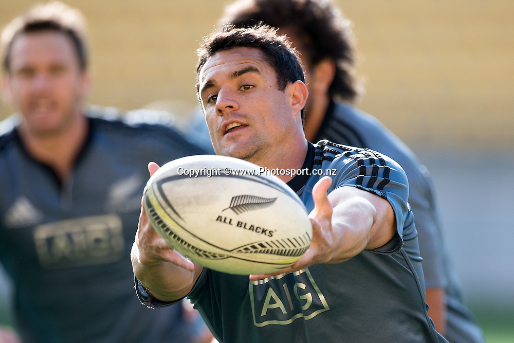 Dan Carter of the All Blacks trains during a All Blacks Training session at the Westpac Stadium in Wellington on Thursday the 11th of September 2014. Photo by Marty Melville/www.Photosport.co.nz
