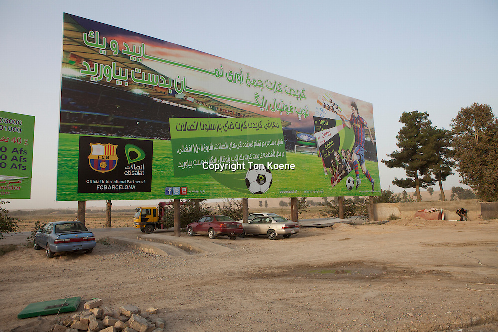Barcelona football billboard in Kunduz, Afghanistan
