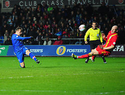 James Collins (West Ham United) of Wales blocks the shot of Ivica Olic (VfL Wolfsburg) of Croatia- Photo mandatory by-line: Joe Meredith/JMP - Tel: Mobile: 07966 386802 26/03/2013 - SPORT - FOOTBALL -  Liberty Stadium - Swansea -  Wales V Croatia - WORLD CUP QUALIFIER