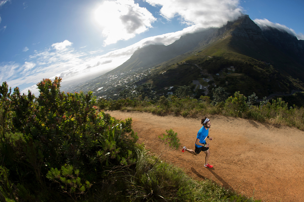 Kane Riley holding nothing back during the Time Trial of the Red Bull Lion Heart, on Lions Head, Cape Town, South Africa, 9 November 2013