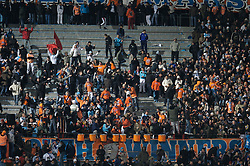MARSEILLE, FRANCE - Tuesday, December 11, 2007: Olympique de Marseille 'Kaotic Group' supporters push each other around during the final UEFA Champions League Group A match against Liverpool at the Stade Velodrome. (Photo by David Rawcliffe/Propaganda)