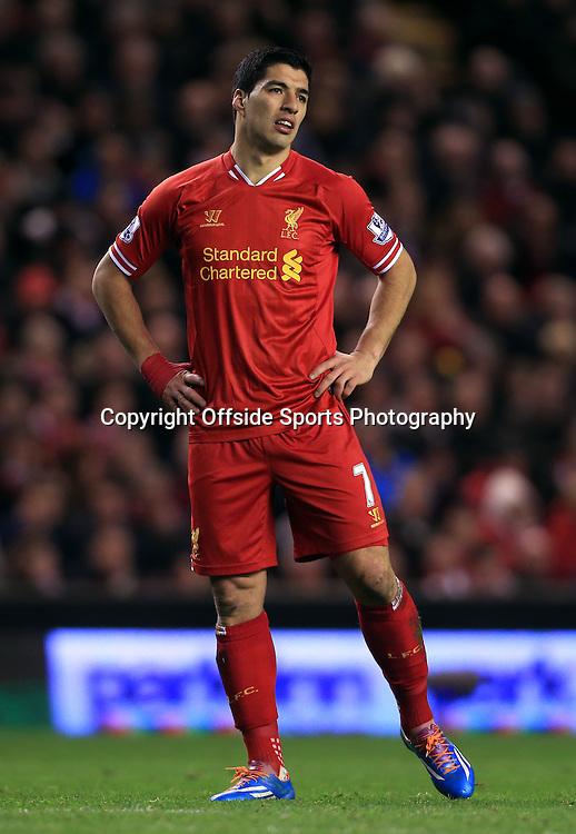 26th March 2014 - Barclays Premier League - Liverpool v Sunderland - Luis Suarez of Liverpool looks dejected - Photo: Simon Stacpoole / Offside.