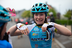Letizia Paternoster of Astana celebrates winning Stage 2 of the Festival Elsy Jacobs - a 111.1 km road race, starting and finishing in Garnich on April 29, 2018, in Luxembourg. (Photo by Balint Hamvas/Velofocus.com)