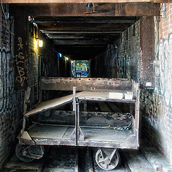 Carts were used to move bricks in and out of drying tunnels and kilns, part of the Holcim Gallery, Evergreen Brick Works, Toronto (Canada).<br />