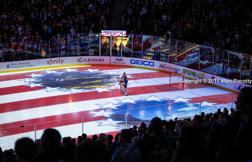 SHOT 2/25/17 8:58:34 PM - Colorado Avalanche goalie Jeremy Smith #40 stands for the National Anthem before their NHL regular season game against the Buffalo Sabres at the Pepsi Center in Denver, Co. The Avalanche won the game 5-3. (Photo by Marc Piscotty / © 2017)