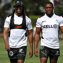 Odwa Ndungane with S'bura Sithole during The Cell C Sharks High CNS Rugby / Skills / Field Conditioning KP2, session at Growthpoint Kings Park in Durban, South Africa. December 9th December 2016 (Photo by Steve Haag)<br /> <br /> images for social media must have consent from Steve Haag