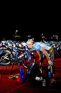 Mirinda CARFRAE (AUS) prepares in transition prior to the race start. 2012 Ironman Melbourne. Asia-Pacific Championship. 25/03/2012. Photo By Lucas Wroe.