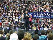 Barack Obama in Seattle before the Washington State Caucus gives a speech in Seattle to 20,000 supporters. Govenor Gregoire endorses him.
