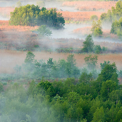 View from Lookout Rock in Blackstone River and Canal Heritage State Park, Uxbridge, MA. Mist rising from the Blackstone River.  Worcester County.