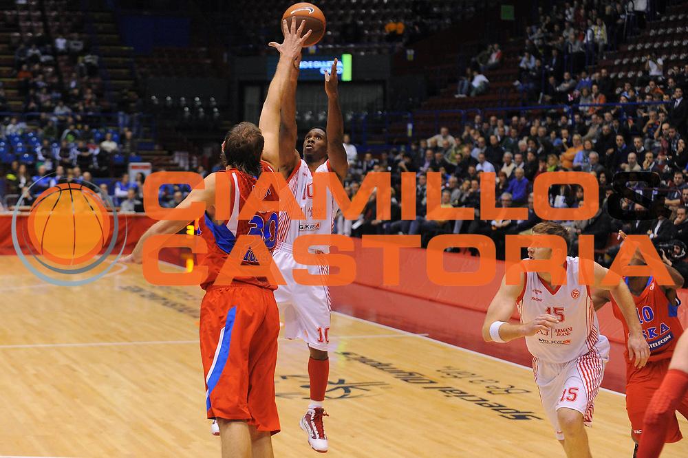 DESCRIZIONE : Milano Eurolega 2010-11 Armani Jeans Milano CSKA Mosca<br />GIOCATORE : Morris Finley<br />SQUADRA : Armani Jeans Milano <br />EVENTO : Eurolega 2010-2011<br />GARA :  Armani Jeans Milano CSKA Mosca<br />DATA : 24/11/2010<br />CATEGORIA : Tiro<br />SPORT : Pallacanestro <br />AUTORE : Agenzia Ciamillo-Castoria/A.Dealberto<br />Galleria : Eurolega 2010-2011<br />Fotonotizia : Milano Eurolega Euroleague 2010-11 Armani Jeans Milano CSKA Mosca<br />Predefinita :