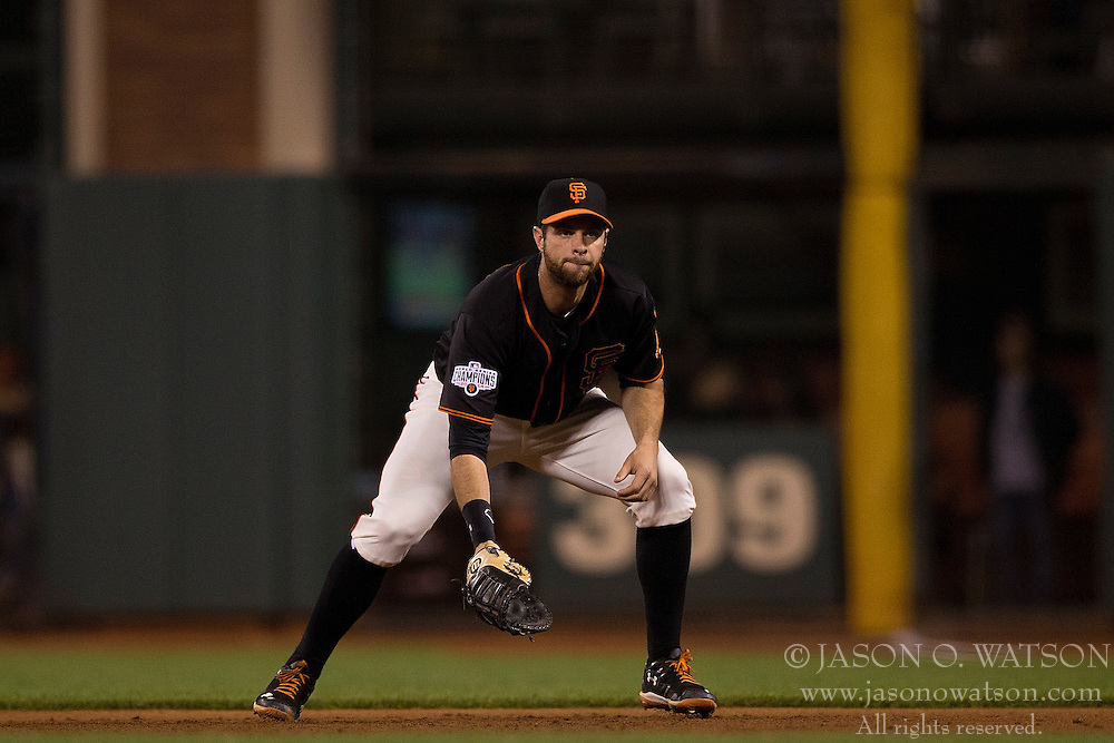 SAN FRANCISCO, CA - JULY 11:  Brandon Belt #9 of the San Francisco Giants stands on the field during the sixth inning against the Philadelphia Phillies at AT&T Park on July 11, 2015 in San Francisco, California.  The San Francisco Giants defeated the Philadelphia Phillies 8-5. (Photo by Jason O. Watson/Getty Images) *** Local Caption *** Brandon Belt