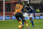 Mohamed Diamé (Hull City) takes on Bruno Ecuele Manga (Cardiff City) during the Sky Bet Championship match between Hull City and Cardiff City at the KC Stadium, Kingston upon Hull, England on 13 January 2016. Photo by Mark P Doherty.