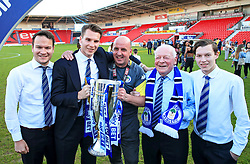Free to use courtesy of Sky Bet - Wigan Athletic manager Paul Cook, club chairman David Sharpe and former chairman Dave Whelan celebrate after winning the Sky Bet League One title - Mandatory by-line: Matt McNulty/JMP - 05/05/2018 - FOOTBALL - The Keepmoat Stadium - Doncaster, England - Doncaster Rovers v Wigan Athletic - Sky Bet League One