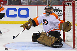 Jan 21; Newark, NJ, USA; Philadelphia Flyers goalie Ilya Bryzgalov (30) makes a save during the first period of their game against the New Jersey Devils at the Prudential Center.