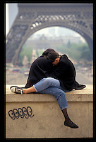 Couple at the Eiffel Tower - Photograph by Owen Franken - Photograph by Owen Franken
