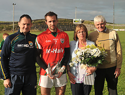 Noel Dunning Manager (Kindom Kerry Gaels) made a presentation to Gearoid, Teresa and Gerry O'Dea at the Padraig O'Dea Memorial game in Kilmaine on saturday last.<br /> Pic Conor McKeown