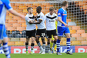 Michael O'Connor Goal Celebrations 2-0 during the Sky Bet League 1 match between Port Vale and Rochdale at Vale Park, Burslem, England on 23 April 2016. Photo by Daniel Youngs.